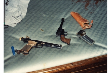 The Ryen's loaded guns found at the crime scene.